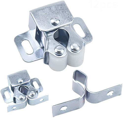 HQDeal 12PCS Door Catches, Double Roller Strong Hold Cupboard Cabinet Door Catches with Screws, Double Roller Catch Cabinet Catch Door Latch for Home Furniture Cabinet Cupboard (Zinc Plated)