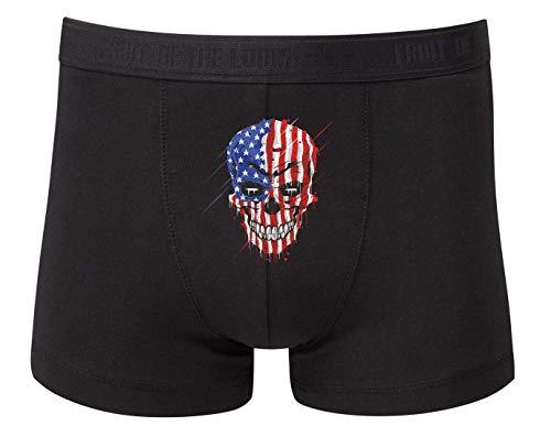 Druckerlebnis24 Boxershort - Skull Amerika Flagge Totenkopf - Unterhose für Herren und Männer