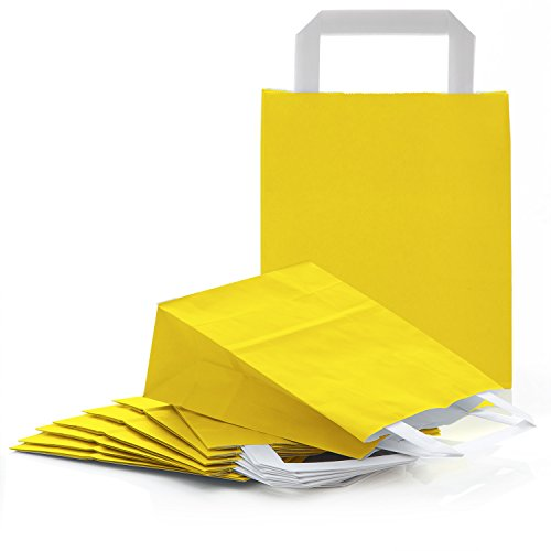 50 kleine gelbe Papiertüte Papiertasche Geschenktüte 18 x 8 x 22 cm Geschenkbeutel Verpackung Geschenk Mitgebsel give-away Geschenksäckchen Oster Geschenk