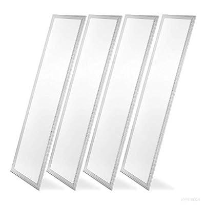 Hyperikon LED Flat Panel 1x4 Foot Drop Ceiling Light, 40W Edge Lit Panel, Dimmable, UL, DLC, Daylight, 4 Pack