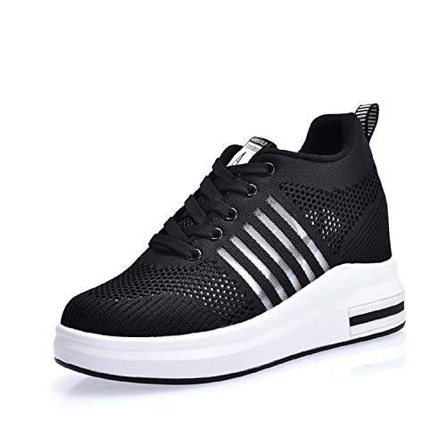 AONEGOLD Sneakers Donna Zeppa Interna Scarpe da Ginnastica Basse Sportive Fitness Sneakers Respirabile Mesh 7.5CM(Nero,36 EU)