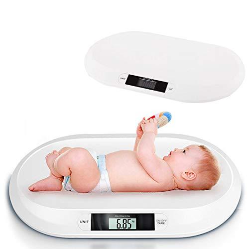JUEYAN Pèse-bébé électronique Balance Digitale jusqu'à 20 kg avec grand écran numérique LCD pour enfants, nourrisson, animaux pesant 55x32cm blanc
