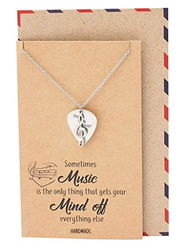 Quan Jewelry Music Gifts for Women Guitar Thumb Pick and Treble Clef Pendant, Musician Necklace with Greeting Card