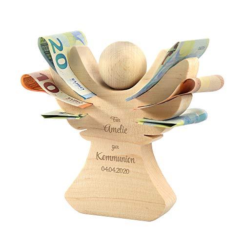 Casa Vivente Engel aus Erlenholz mit Gravur zur Kommunion, Personalisiert mit Namen und Datum, Verpackung für Geldgeschenke, Geschenkidee für Mädchen und Jungen