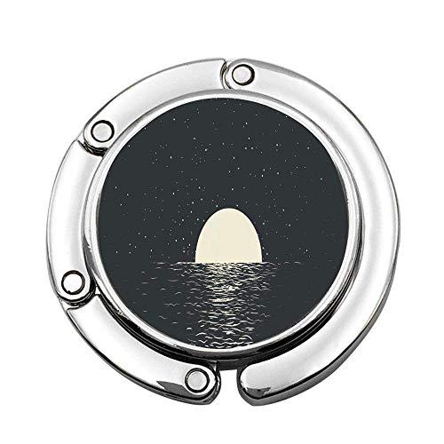 Water Seascape with Full Moon at The Night Sea Romantic Reflection Ocean Dark Silence Sky Star Surf Custom Purse Hook Foldable Handbag Hanger Folding Table Hanger