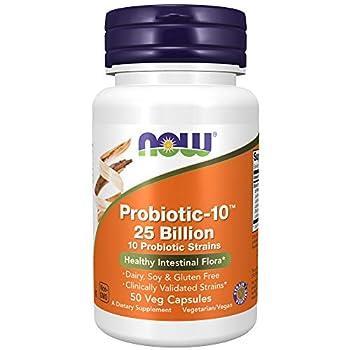 NOW Supplements Probiotic-10 25 Billion with 10 Probiotic Strain Verified 50 Veg Capsules
