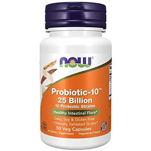 NOW Supplements Probiotic-10 25 Billion with 10 Probiotic Strain Verified, 50 Veg Capsules