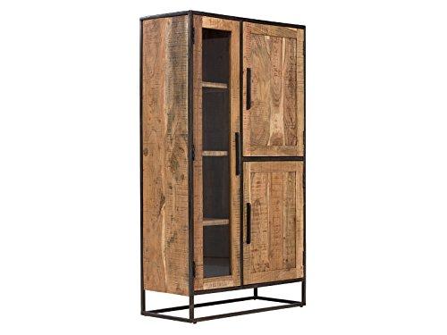 Massivum Oklahoma Highboard 3Tür Akazie Hell, Holz, Natur, 40 x 90 x 160 cm