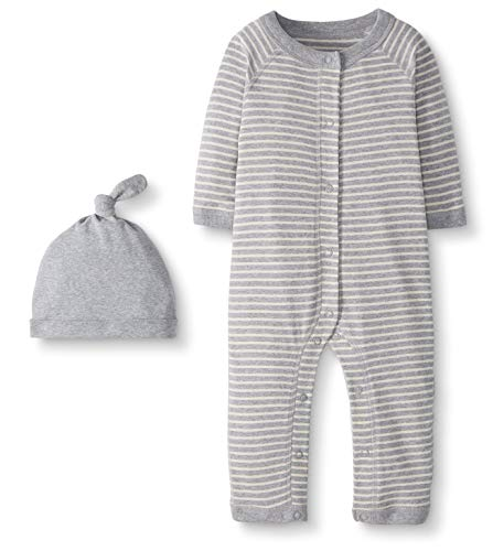 Moon and Back by Hanna Andersson Snap Front One Piece Coverall with Cap Set Infant-and-Toddler-Layette-Sets, Heather Gray, 0-3 Meses