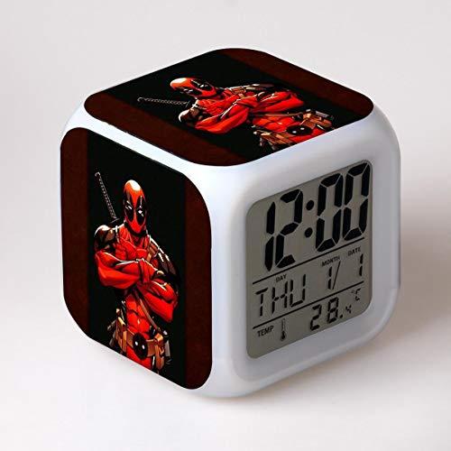 JCYY Niños Cabecera Dibujos Animados Despierta Despertador LED 7 Colores USB Digital Relojes Niños Habitación Inalámbrico Dormitar Reloj Cumpleaños Regalo por Muchachas Niños Adolescentes,02