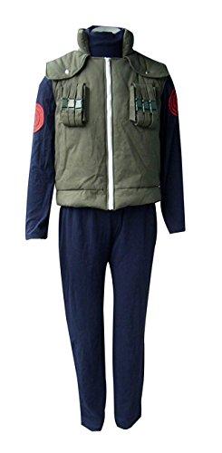 ZYHCOS Halloween Cosplay Costume Mens Green Thick Vest Blue Flocking Hoodie Sets (Medium, Hoodie+vest)