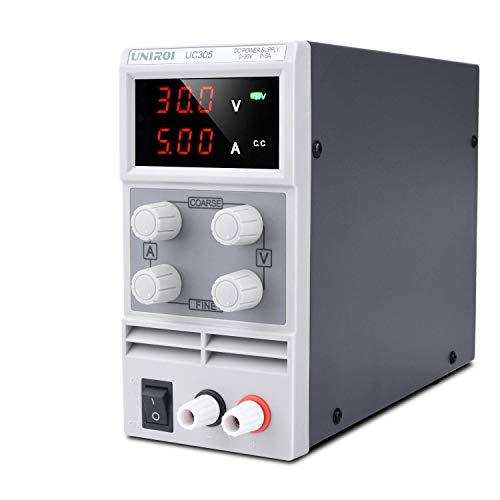 UNIROI 4点セット 可変直流安定化電源 0-30V/0-5A スイッチング電源 ワニ口クリップリード付き 自動温度制御冷却ファン 小型 低雑音 安全保護 直流電源装置 安定化電源 (30V/5A)