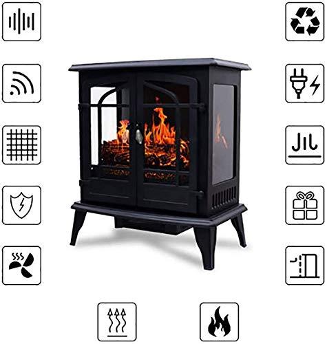 ZHENYUE Elektrische fornuisverwarming, 1400W vintage elektrisch fornuis verwarming, vrijstaande 3D vlam open haard, CSA-certificering