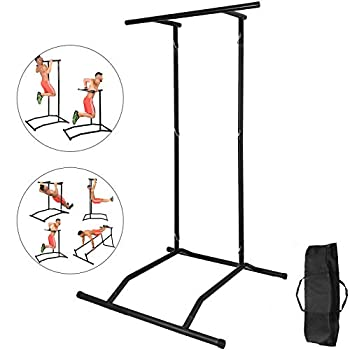 Happybuy 330LBS Pull Up Bar Free Standing Dip Station Portable Power Tower Multi-Station for Home Gym Fitness Equipment with Storage Bag,Black