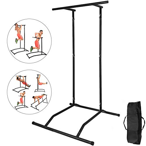 VEVOR Station de Formation Dip Pull Up Dip Bar Pull Power Tour Capacité Station de Gymnastique d'entraînement Multifonctionnelle Traction en Acier Inoxydable avec Sac de Transport (Noir)