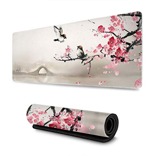 Asian Art Nature Plum or Cherry Blossom Painting Gaming Mouse Pad XL, Extended Large Mouse Mat Desk Pad, Stitched Edges Mousepad, Long Non-Slip Rubber Base Mice Pad, 31.5 X 11.8 Inch