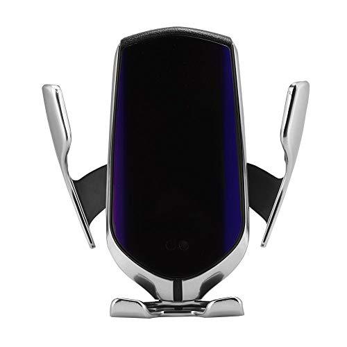 Draadloze autoladers, 2 in 1 10 W Qi-infrarood telefoonhouder met automatische inductie oplader voor auto-ventilatieopeningen voor iOS, Android, Samsung., zilver