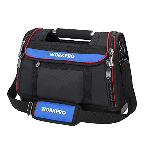WORKPRO Werkzeugtasche 40x21x29CM, schwere Transporttasche aus 600D Polyester,offene Montagetasche mit Tragebügel, wasserdichtem Kunststoffboden und verstellbarem Schultergurt