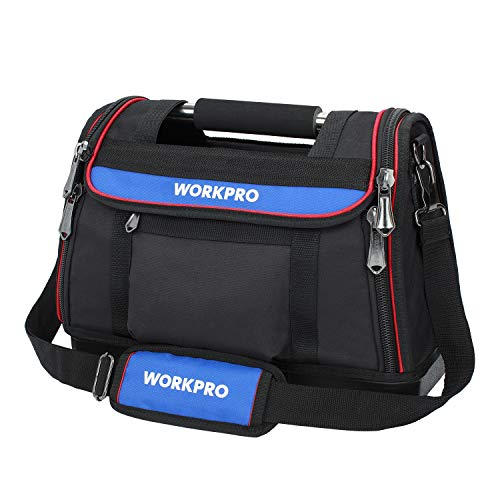 WORKPRO Heavy Duty Tool Bag, Wide Open Mouth and Smooth Zip, 15inches, Hard Base, Max Load 25kg/55lb