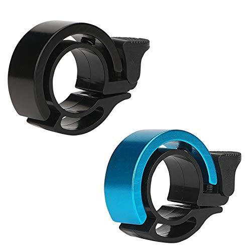 FORMIZON 2 Piezas Timbre de Bicicleta, Mini Aleación de Aluminio Diseño para Scooter, Bicicleta de Montaña, MTB, BMX, Bicicleta de Carretera para Manillares con Diámetro de 22,2-23,8mm (Negro + Azul)