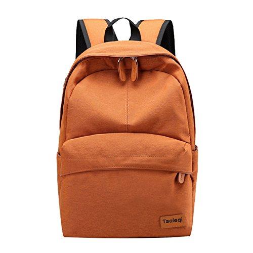 Super moderne Unisexe en nylon Sac d'école Sac à dos de couleur unie Sac à dos de randonnée avec trou pour écouteurs Cool Sac à dos de sport Sac pour ordinateur portable pour femme fille enfant Large Orange