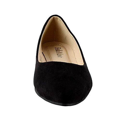 Bella marie Angie-52 Women's Classic Pointy Toe Ballet PU Slip On Flats, New Black Size 8.5