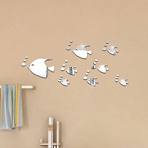 ufengke 8 Piezas 3D Peces Tropicales Efecto de Espejo Pegatinas de Pared Diseño de Moda Etiquetas del Arte Decoración del Hogar Plata