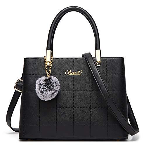 BestoU Handtasche Damen Shopper Handtaschen Schwarze Groß Damen Tasche für Büro Schule Einkauf mit Pelz Kugel Plüsch Schlüsselring (Schwarz)