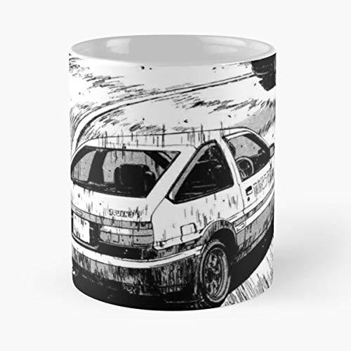 Desconocido Car Anime D Shop Fujiwara Initial Drift Touge Tofu Logo Cars Japanese Best Mug Holds Hand 11oz Made from White Marble Ceramic