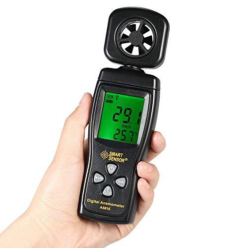 TYBXK Windmesser Mini-Anemometer Digital-Windgeschwindigkeit Meter Luftgeschwindigkeit Temperatur Mess mit Hintergrundbeleuchtung (Color : Natural)
