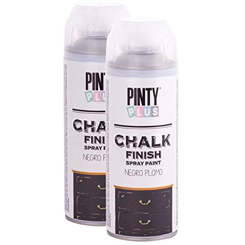 Pintyplus Chalk Finish Spray Paint - Black Plumb 13.5 oz Cans, 2 Pack - Water Based, Environmentally Friendly, Fast Drying - Ideal on Wood, Melamine, Canvas, Iron, Plastic, Cardboard, and Glass