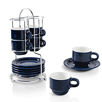 KOOV Porcelain Stackable Espresso Cups Set, Coffee Set with Saucers and Metal Stand, 2.5 Ounce Coffee Cup Set of 6 (Aegean)