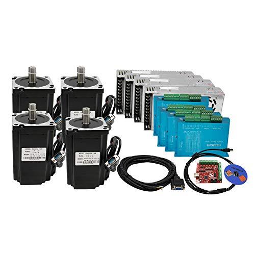 12N Set 4 Kit CNC NEMA34 Motor de bucle cerrado 86HSE 6A Hybrid Nema 34 HBS860H y 400W DC Fuente de alimentación + placa de interfaz MACH3