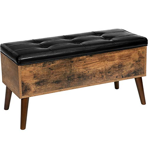HOOBRO Storage Ottoman, Flip Top Entryway Bench Seat with Safety Hinge, Storage Chest with Padded Seat, Bed End Stool in Hallway Living Room Bedroom, Supports 220 lb, Rustic Brown BF97CW01G1