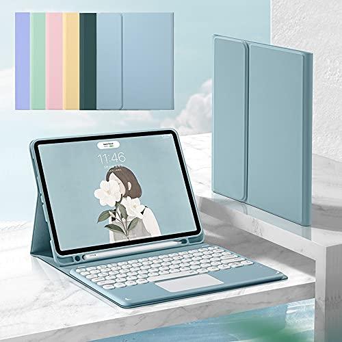 2021 Nuevo iPad Pro 11 Funda de teclado Bluetooth con panel táctil Teclado circular para Pro10.5 Ranura para pluma incorporada iPad 8 Air4 Teclado magnético separado (iPadPro11 (2018/2020/2021), rosa)
