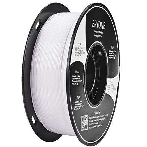 ERYONE PLA 3D Printer Filament 1.75mm, Dimensional Accuracy +/- 0.05 mm 1kg (2.2LBS)/Spool, Cool White