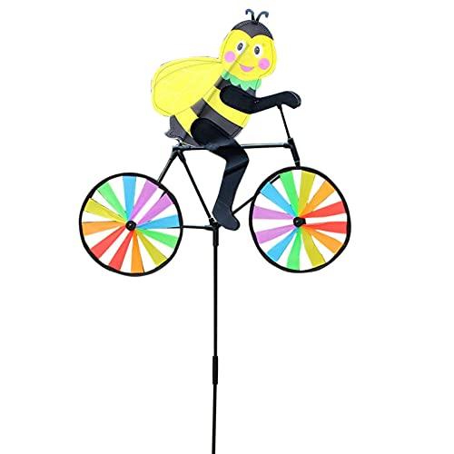 Ocobetom Bonito molinillo de viento en forma de animales en 3D para bicicleta, jardín, césped, patio