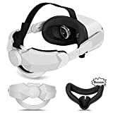Oculus Quest 2 Elite Head Strap Replacement, Adjustable Elite Headband Accessoriesfor Oculus Quest 2 VR Headset Official Oculus Case, Includes Silicone Face Cover Pad, Enhanced Support and Comfort