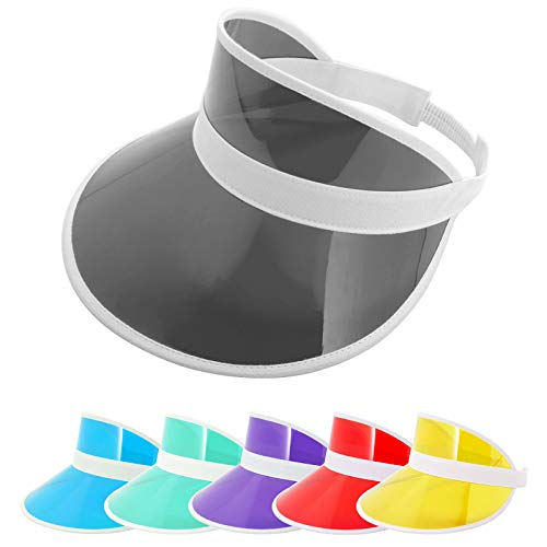 ZOWYA Clear Sun Visor Hats for Women Men Girls Plastic Visor Caps Transparent UV Protection Sports Cap Tennis Beach Golf Adjustable Big Head Candy Color Black, 1 Pack