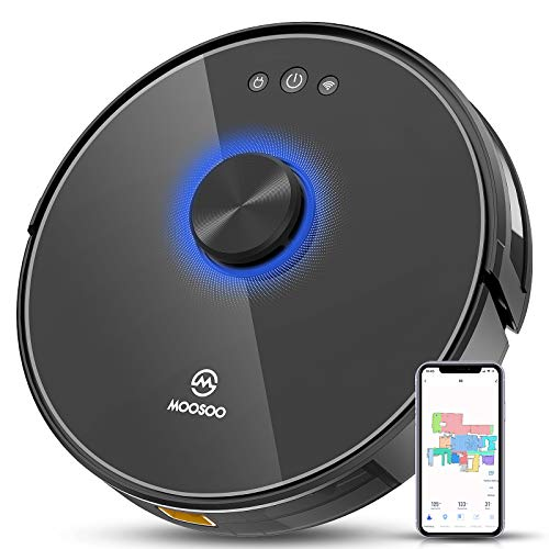 MOOSOO Robot Vacuum R3, 360° SLAM Mapping Lidar Navigation Robotic Vacuum Cleaner with Self-Charging Continuous Cleaning, Compatible with WiFi/Alexa, Ideal for Pet Hair, Hard Floor and Carpets