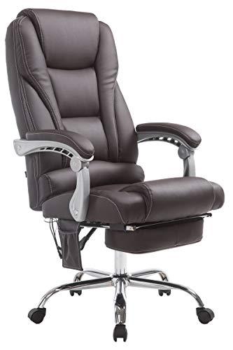 CLP Sedia Ufficio Massaggiante Pacific V2 I Poltrona Relax 5 Programmi Massaggio In Similpelle Poggiapiedi Estraibile, Colore:marrone