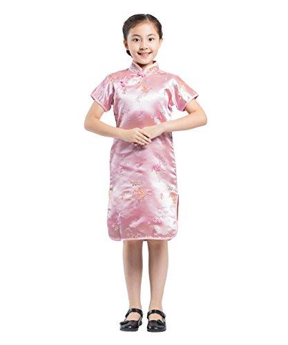 AKAAYUKO Niños Niñas Cheongsam Plum Flower Bamboo Qipao Chino Mini Vestido