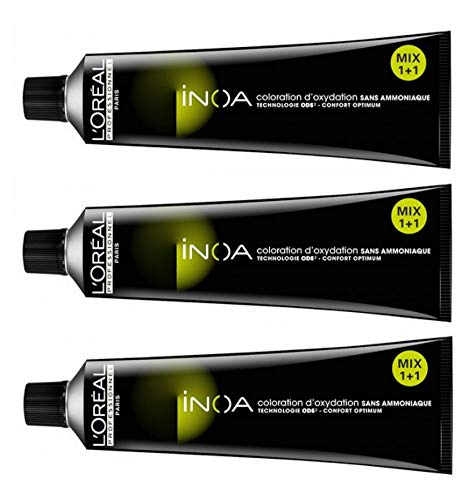Loreal Inoa 6,0 dunkelblond intensiv 3 x 60 ml Haarfarbe ohne Ammoniak LP Coloration