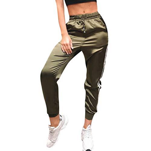 VRTUR Damen Hosen Sweatshose Streifen Sweatpants Elastischer Bund Jogginghose mit Taschen und Tunnelzug