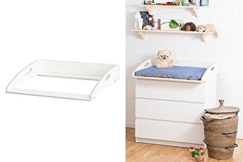 Designer Wickelaufsatz mit Griffen für Ikea Malm Kommode extra stabiles Holz (keine Spanplatte) Wand- u. Kommodenbefestigung runde Ecken Kippschutz Wickelauflagen Breite 77 (passgenau) und 80 cm