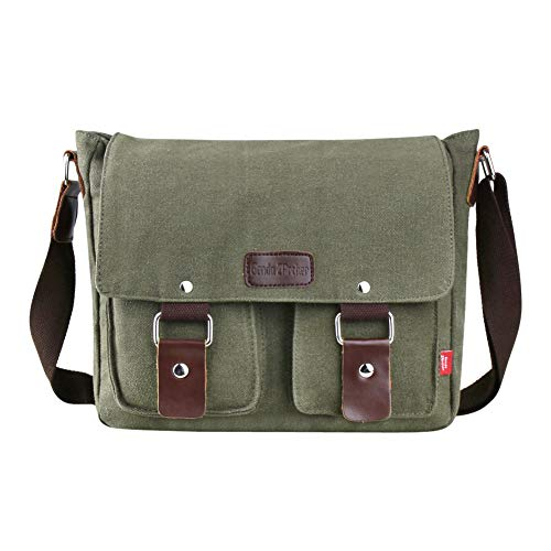 Genda 2Archer Canvas Messenger Bag for Men and Women Vintage (ArmyGreen(New))