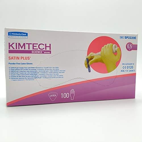 Kimtech Science Satin Plus Latex-Einmalhandschuhe, puderfrei, Größe S (6.5), Box mit 100 Handschuhen