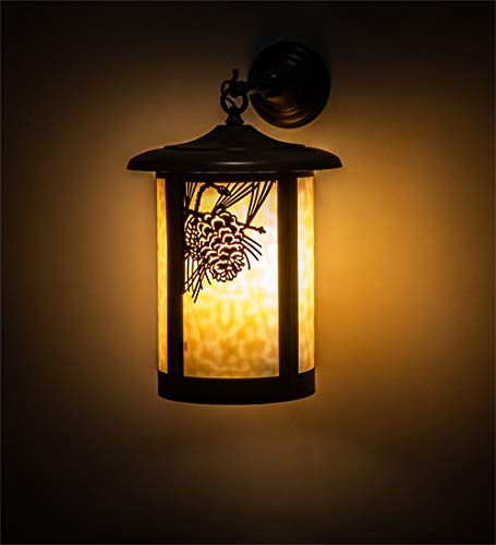 Tiffany  Leaf, Flower, Fruit One Light Wall Sconce from Fulton Collection in Craftsman Brown Finish - Meyda 91100