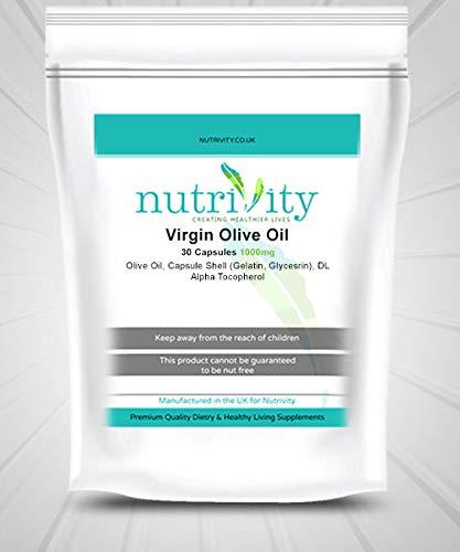 Virgin Olive Oil 1000mg Capsules Omega 3 6 for Health Heart Nutrivity 30 Caps
