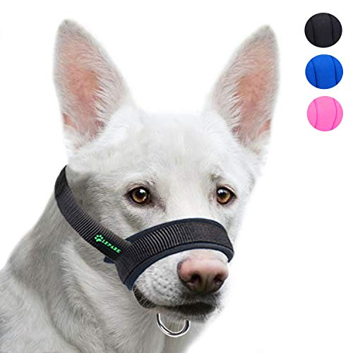 Lepark Dog Muzzle with Fabric for Small, Medium and Large Dogs, Anti Biting, Chewing, Adjustable Neck, Breathable(M, Black)